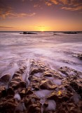 beach, sunrise, rising sun, waves, rocky, foreshore, auchmithie, angus, tayside