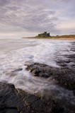 bamburgh castle, bamburgh, northumberland, england, coastal regions, rocky, beaches, first light, cool, dawn, clouds