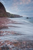 auchmithie, angus, scotland, scottish coast, coast, pebble, beach, sandstone, cliffs, waves, pebbles