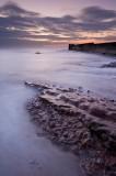 rocky, pebbles, beach, Auchmithie, harbour, coastal erosion, sunrise, waves, smooth, angus, scotland, low tide, outcrops