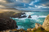 gale, cliff top, clouds, rocky, shoreline, surf, mangestra, lewis, outer hebrides, first light, dawn, storm