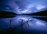 evenings, reflection, fence, blue, clouds, loch, skye, scotland