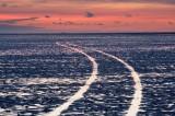 lindisfarne, holy island, causeway, tide, mudflats, dusk, tracks, island, coast, northumberland, england