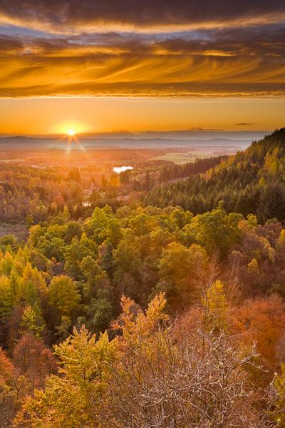 stunning, sunrise, autumn, leaves, trees, colors, yellow, orange, colours, clouds, landscape, scotland, perthshire, photo