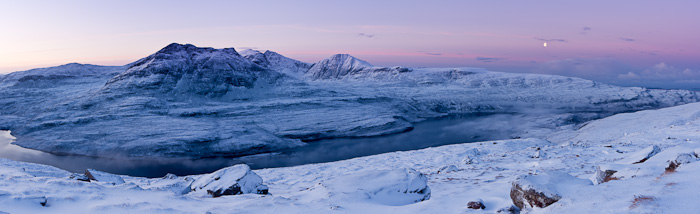 coigach, moon, earth shadow, dawn, high resolution images, stitching, panoramic, composition, cold, inverpolly, scotland, photo