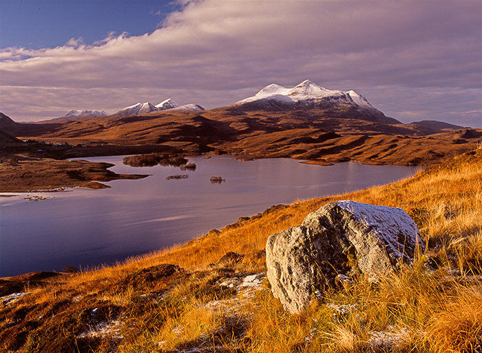 autumn landscape, awesome scenery, inverpolly, snow, cul mor, coigach, cul beag, mountains, seasons of the year, scotlan, photo