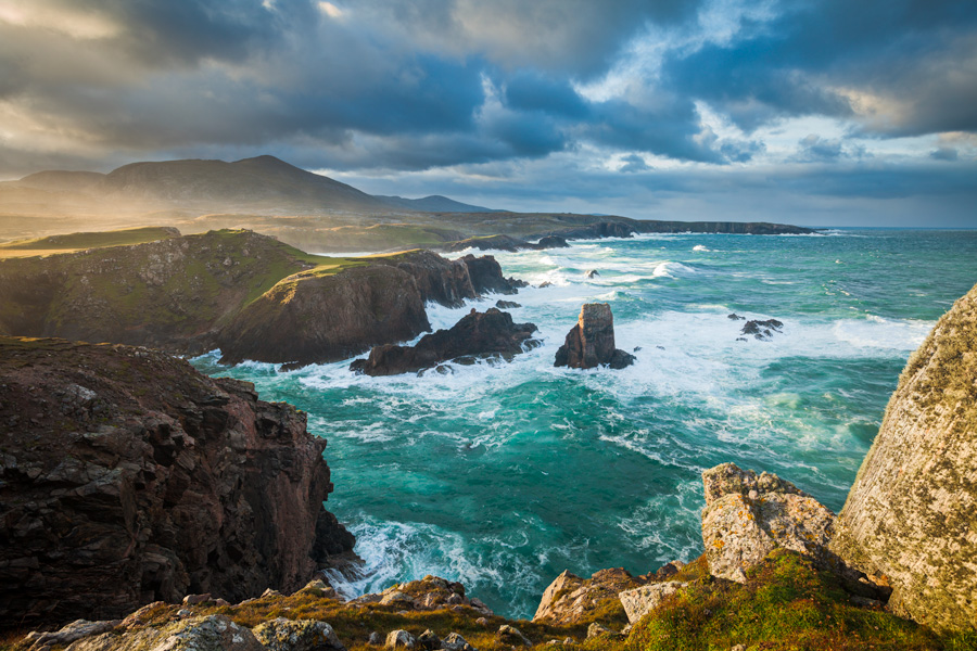 gale, cliff top, clouds, rocky, shoreline, surf, mangestra, lewis, outer hebrides, first light, dawn, storm, photo