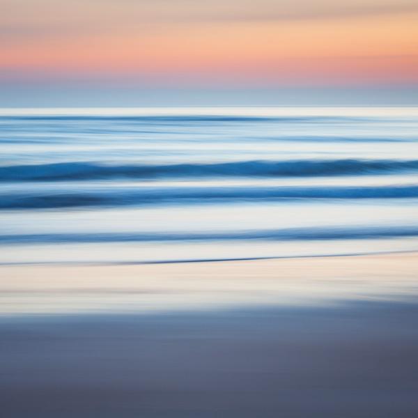 incoming, tide, sunrise, waves, kingsbanrns, fife, panning, painterly, pastel, water, beach, photo