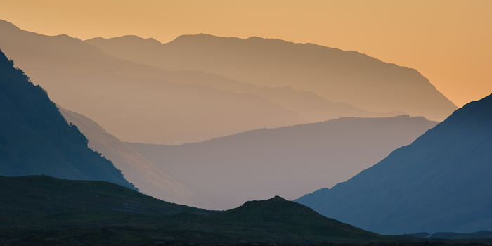 glencoe, setting sun, image, recession, mountain, layers, razor sharp, ridges, highlands, scotland, atmosphere, photo