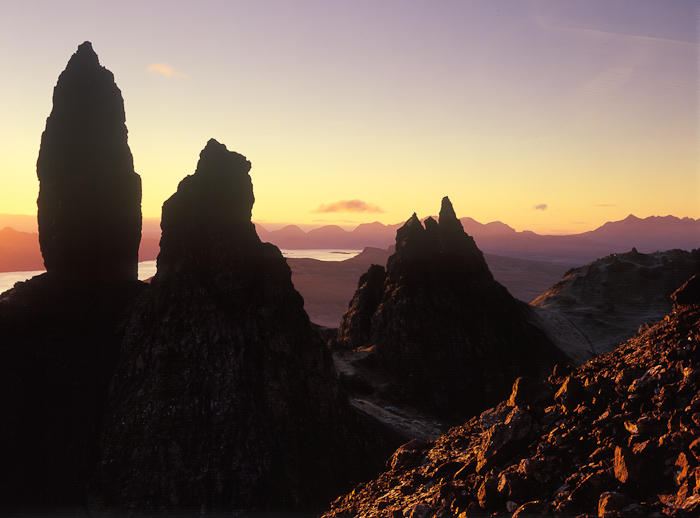 old man of storr, storr, skye, sunrise, barren, rock formations, silhouetted, rocks, scotland, isle of skye, photo