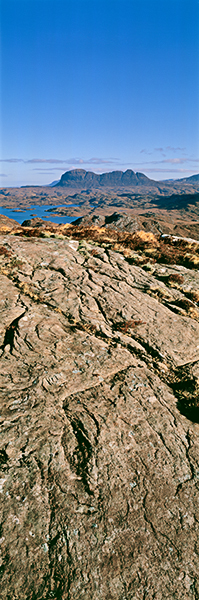 inverpolly, assynt, mountains, suilven, geology, vertical panorama, isolation, distinctive, photo