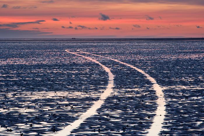 lindisfarne, holy island, causeway, tide, mudflats, dusk, tracks, island, coast, northumberland, england, photo