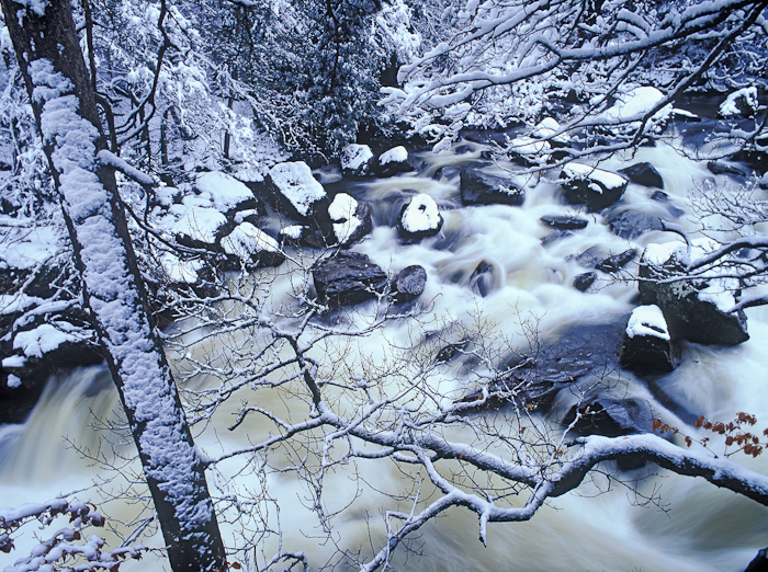 winter, snow, river, stream, rocks, hermitage, dunkeld, perthshire, scotland, photo